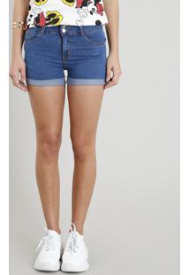Short Jeans Feminino Reto Com Bolsos E Barra Dobrada Azul Médio