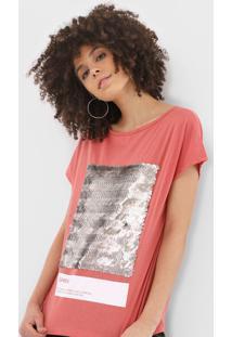 Camiseta Sommer Paetês Rosa - Kanui
