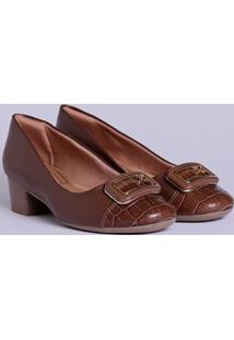 Sapato De Salto Feminino Comfortflex Marrom