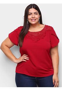 Blusa Lemise Plus Size Renda Feminina - Feminino-Vinho