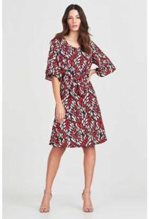 Vestido Mini Rubinella Folhas Feminino - Feminino-Marinho+Vermelho