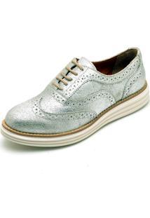 Sapato Oxford Q&A 300 Couro Prata - Kanui