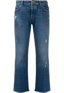 Emporio Armani Distressed Cropped Jeans - Azul