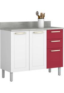 Balcão De Cozinha 105 Cm Branco/Vermelho Rubi - Itatiaia