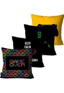 Kit Com 4 Capas Para Almofadas Pump Up Decorativas Preto Play Game Over 45X45Cm