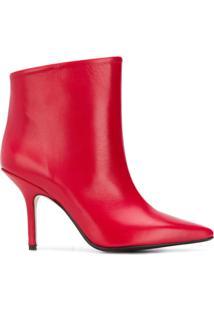 Anna F. Ankle Boot De Couro - Vermelho
