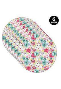 Capa Para Sousplat Mdecore Floral Azul 6Pçs
