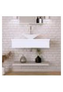 Conjunto Para Banheiro Bancada Com Cuba L38 Folha E Prateleira City 805 Branco Chess