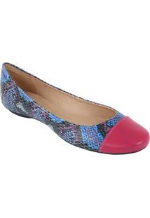 Sapatilha Em Couro Com Ponteira - Pink & Azulluiza Barcelos