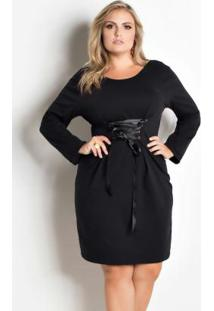 Vestido Preto Com Amarração Marguerite Plus Size