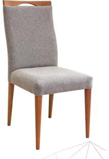 Cadeira Estofada Soft Madeira Maciça 4 Peças Amendoa-Cinza