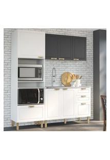 Cozinha Completa 3 Peças Americana Multimóveis 5911 Branco/Grafite