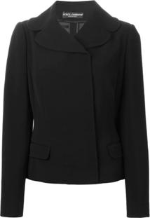Dolce & Gabbana Blazer De Lã Com Gola Ampla - Preto