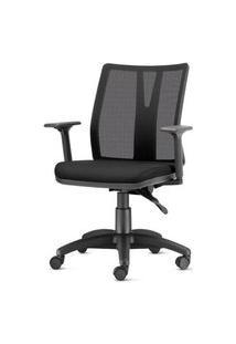 Cadeira Addit Assento Crepe Preto Com Base Arcada Em Nylon - 54122 Preto