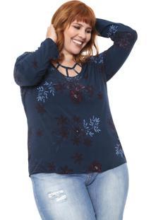 Blusa Cativa Plus Recortes Azul-Marinho