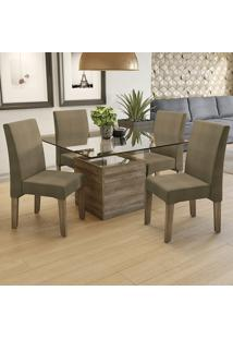 Mesa De Jantar Com 4 Cadeiras Csj056No – Kappesberg - Capuccino