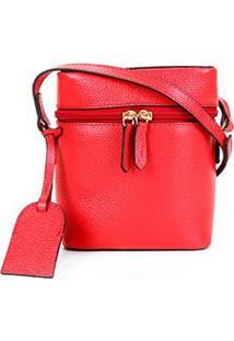 Bolsa Couro Shoestock Mini Basic Transversal Feminina - Feminino-Vermelho