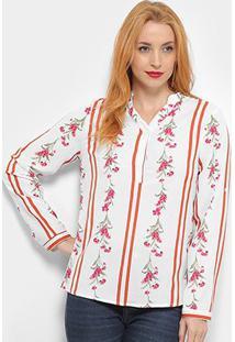 Blusa Listrada Adooro! Manga Longa Floral Feminina - Feminino-Branco