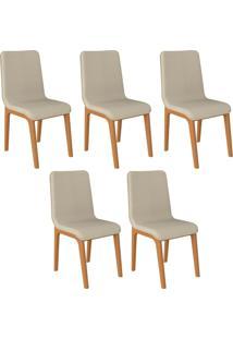 Kit 05 Cadeiras Decorativas Sala De Jantar Madeira Champagne Lins Linho Bege - Gran Belo