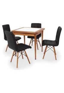 Conjunto Mesa De Jantar Em Madeira Imbuia Com Azulejo + 4 Cadeiras Gomos - Preto