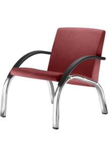 Poltrona Harmony Lounge Assento Courino Vermelho Braco Preto E Base Cromada - 55050 - Sun House