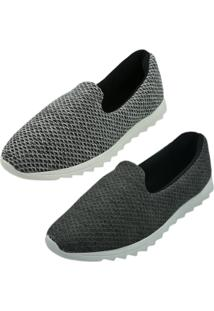 Kit 2 Pares Tênis Confort Sand Shoes Cinza Chumbo