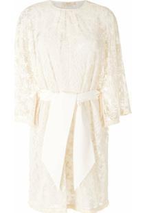 Nk Vestido Reto Bordado Com Amarração - Branco