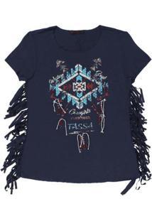 Camiseta Com Franja Tassa Gold Feminina - Feminino-Azul