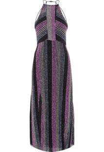 Vestido Midi Listras Mosaic - Preto