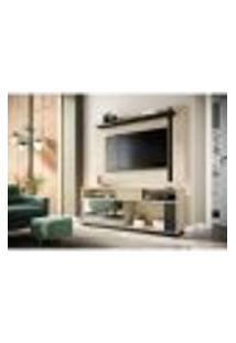 Rack Com Painel Extensível Para Tv Até 60 Polegadas Leme Tauari E Preto Fosco 180 Cm