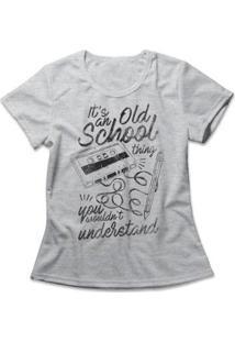 Camiseta Feminina Old School Thing - Feminino-Mescla
