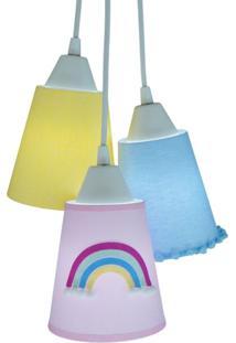 Lustre Pendente Luminã¡Ria Tecidos Coloridos Cacho Arco ÍRis - Amarelo/Azul/Branco/Rosa - Dafiti