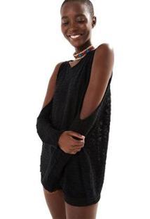 Blusa Farm Sweater Flamê Ombro Vazado - Feminino-Preto