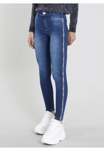 e05915e2ed CEA. Calça Feminina Sintética Algodão Elastano Jeans Decorativo Zíper Sawary  Azul Tom Escuro ...