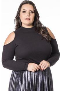 Blusa Beline Plus Size Manga Longa Com Ombros Vazados Miss Masy - Feminino-Preto