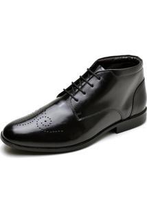 Sapato Social Em Couro Com Cadarço Reta Oposta Preto