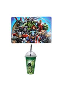 Kit Avengers Vingadores Com Jogo Americano E Copo Shake Hulk