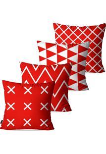 Kit Com 4 Capas Para Almofadas Pump Up Decorativas Vermelho Geométrico 45X45Cm