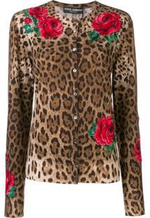 Dolce & Gabbana Cardigan Com Estampa De Leopardo - Marrom