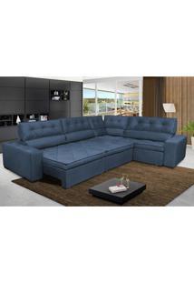 Sofa De Canto Retrátil E Reclinável Com Molas Cama Inbox Austin 3,65X2,54 Ou 2,54X3,65 Suede Velusoft Azul
