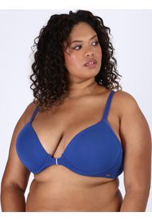 Sutiã Plus Size Love Secret Em Modal Triângulo Nadador Com Bojo Azul