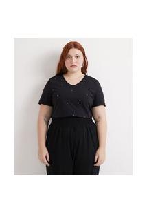 Blusa Lisa Com Strass Olho De Gato Curve & Plus Size | Ashua Curve E Plus Size | Preto | G