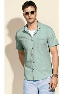Camisa Masculina Slim Em Algodão Com Bolsos Frontais