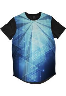 Camiseta Longline Insane 10 Tecnologia Abstrata Triângulos E Números Sublimada Azul