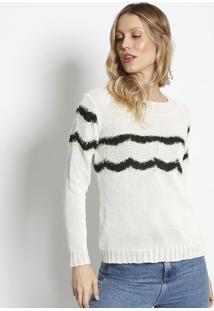 Blusa Em Tricã´ Texturizado- Off White & Preta- Pontoponto Aguiar