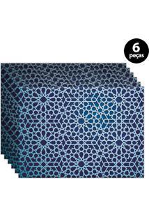 Kit 6Pçs Jogo Americano Mdecor Abstrato 40X28Cm Azul Marinho