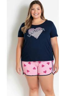 Pijama Plus Size Com Estampa Marinho E Rosa