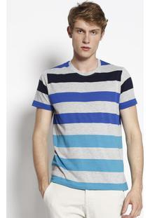Camiseta Listrada- Cinza Claro & Azulclub Polo Collection