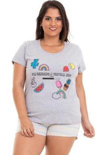 Pijama Plus Size Manga Luna Cuore Feminino - Feminino-Cinza