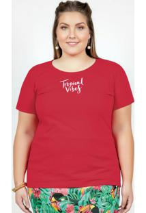Blusa Vermelha Com Mangas Curtas Plus Size